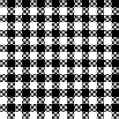 Black and white checkered tartan seamless pattern design. Tablecloth checkered black and white squares vector seamless pattern texture.