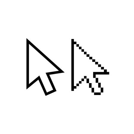 Mouse pointer arrow vector icons. Arrow cursor pixel and regular, white fill. Иллюстрация