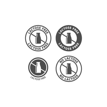 Lactose free circle vector sign for packaging. Lactose free symbol, milk bottle badge label. Иллюстрация
