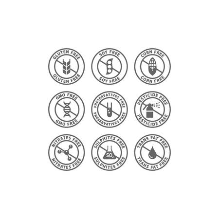 Gluten, soy, trans fat free vector badge label set. Corn, preservatives, gmo free black isolated circle stamp icons.
