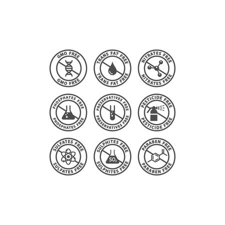 Gmo, preservatives, trans fat free vector badge label. Nitrates, sulfates, pesticides free glyph circle stamp set for packaging.