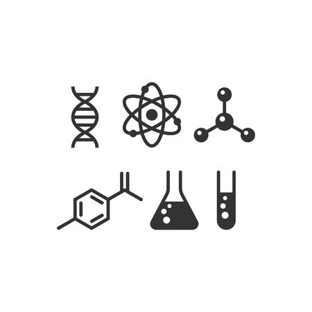 Chemistry black isolated vector icon set. Molecule, dna, test tube and atom simple glyph icons.