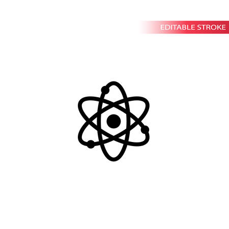 Atom symbol simple black vector icon. Atom structure chemistry isolated line icon. Editable stroke. Ilustração