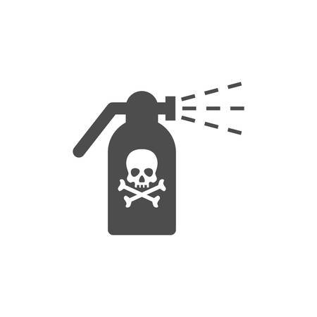 Sprayer gun, atomizer with skull and bones, toxic sign icon. Vaporizer with poison sign vector glyph icon.