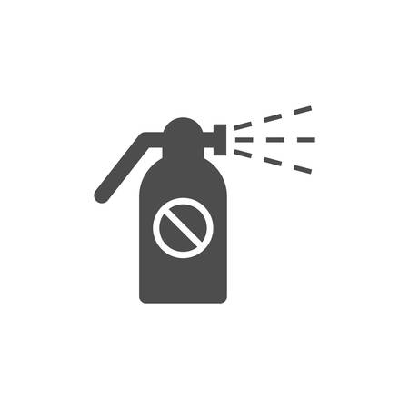 Atomizer with ban sign sprayer gun vector icon. Spraying pesticides symbol black flat icon. Extinguisher or vaporizer simple symbol. Ilustração