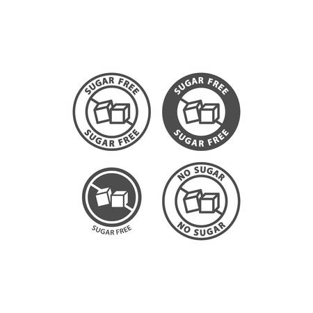 Sugar free symbol vector sticker. No sugar ingredient black stamp label for packaging. Sugar cubes with text packaging badge.