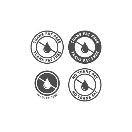 Trans fat free black vector circle sticker set. No trans fats ingredient label sign. Circle stamp with text for packaging.