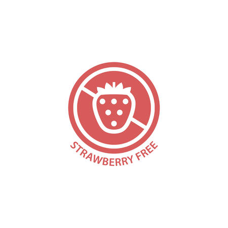 Strawberry free red circle label. Strawberry allergy free vector sign.