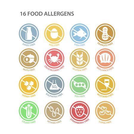 Set di etichette per ingredienti colorati cerchio libero di allergeni. Timbri in colori pastello senza soia, senza latticini e senza glutine. Set di adesivi vettoriali per allergeni.