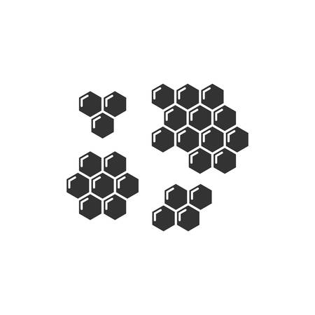 Honeycomb black isolated vector icon set. Honey comb hexagon glyph cells. Ilustração