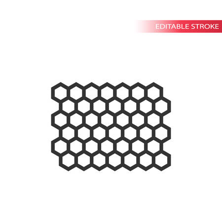 Honey comb editable stroke line pattern. Honeycomb hexagon outline vector cells.