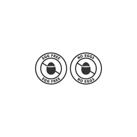 No eggs ingredient food allergen stamp. Egg free vector label icon, food allergens sticker.