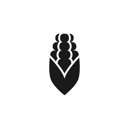Corn cob vector simple icon. Black isolated corn cob flat icon. Ilustração
