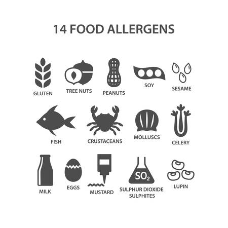 Food allergens icon set. Black isolated 14 food allergens with text names vector set. Gluten, peanuts, tree nuts, soy allergy silhouette icons. Ilustração