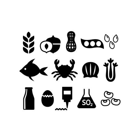 Food allergens icon set. Black isolated food allergens vector set. Gluten, peanuts, tree nuts, soy allergy silhouette icons.