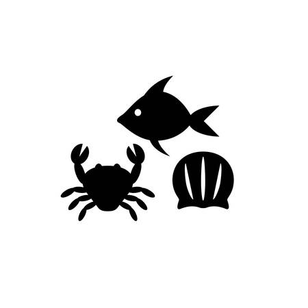 Seafood black silhouette icon set. Sea food, fish, crab and seashell simple vector icons. Ilustração
