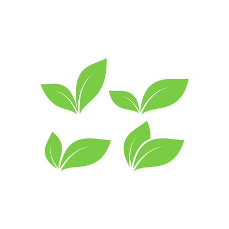 Green leaf vector symbols. Green leaves simple icon set. Ilustração
