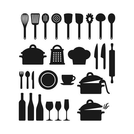 Kitchenware utensils pots and tools black silhouette icon set.