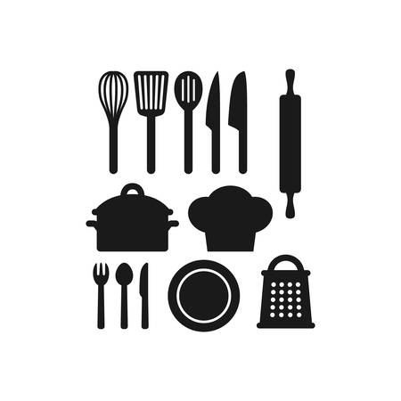 Kitchenware utensils  black icon set.