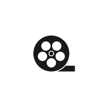 Film reel simple  icon on white Çizim