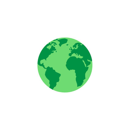 Green planet, globe with continents and oceans on white