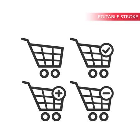 Shopping cart line  icon set on white