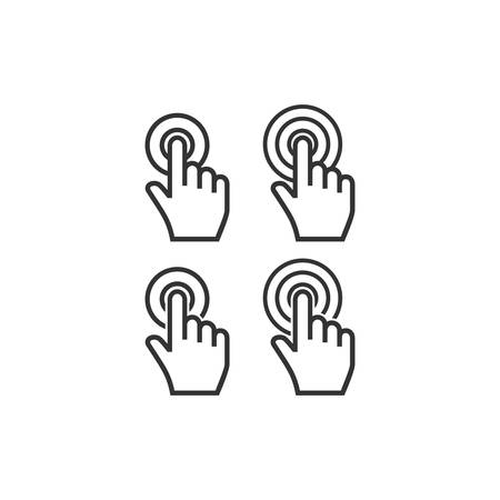 Cursor hand point finger click with circles  icon set on white