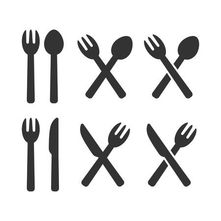 Fork and knife simple silhouette glyph vector icon set. Fork and knife crossed, diner and restaurant sign.