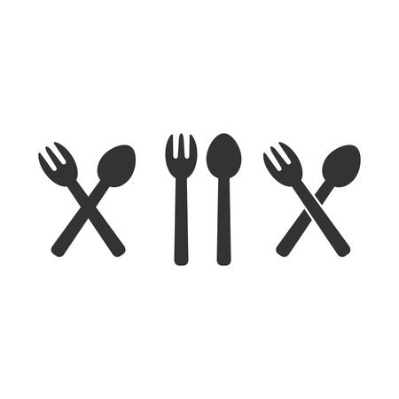 A fork and a spoon simple vector silhouette icon set. Fork and spoon crossed, diner, restaurant sign. Ilustração