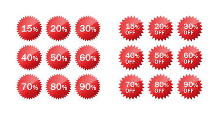 Discount red vector star badge. Discount price off star circle glossy sticker set. Ilustração