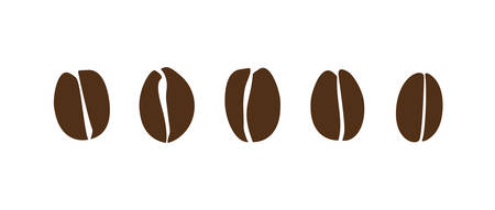 Dark brown coffee bean set. Isolated coffee beans vector icons.