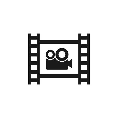 Film strip with video camera vector icon. Cinema symbol. Photographic film tape with video camera. Ilustração