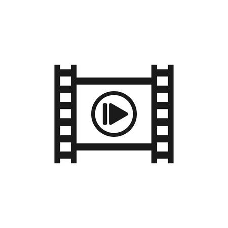 Photographic film strip with play symbol. Film tape with media player vector icon.
