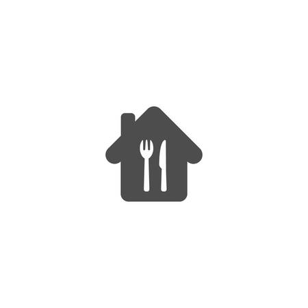 Home symbol with knife and fork simple vector icon. Home food sign. House with fork and knife isolated glyph icon.