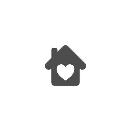 Home sign with heart symbol simple vector icon. House with a heart isolated glyph icon.