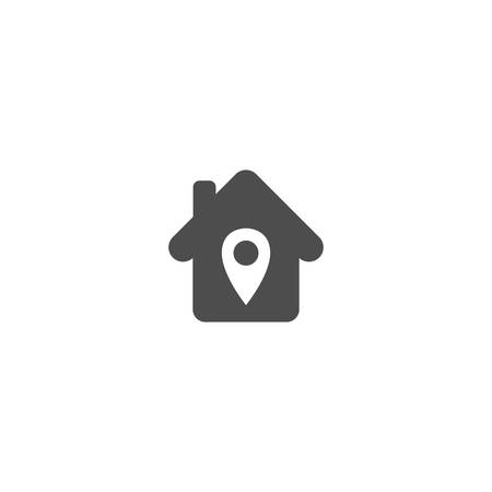 Home icon with location pin simple vector symbol. House with location pointer pin glyph icon.