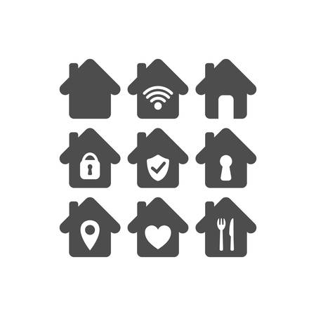 Home vector icon set. House icons with wi fi, padlock, location pin, heart symbols.