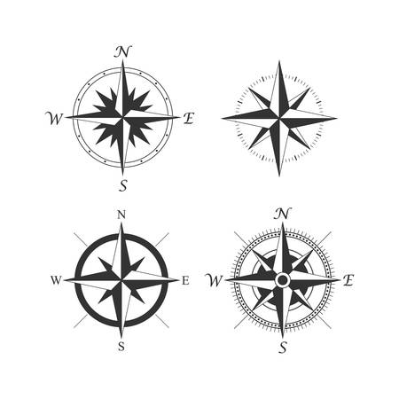 Old compass vintage style black vector set. Wind rose compass retro design icon set.