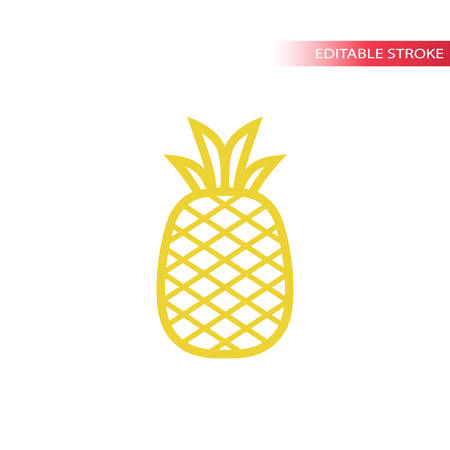 Pineapple simple line icon in color. Outline pineapple vector icon. Fully editable.