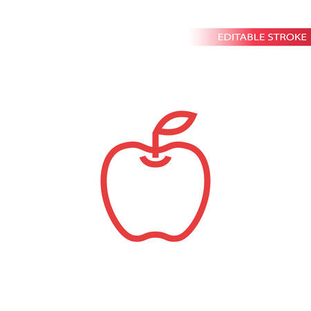 Apple simple line icon in color. Outline apple vector icon. Fully editable. Ilustração