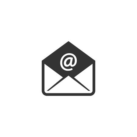 Open envelope with at sign simple vector icon. E-mail symbol glyph flat icon. Ilustração