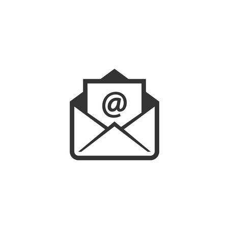 Open envelope with at sign letter vector icon. Open letter, email with at symbol.