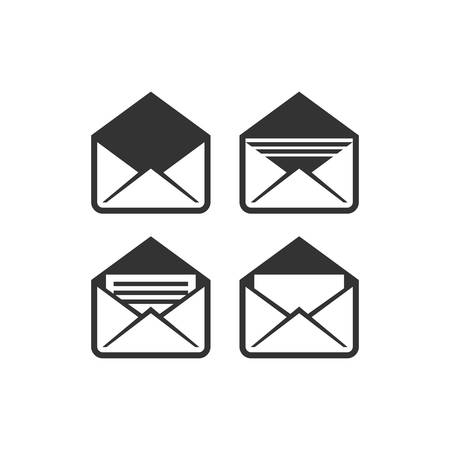 E-mail envelope black isolated vector icon set. Open and closed mail, letter with at symbol, envelope with text and arrows.