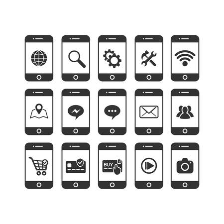 Smartphone various vector icon set. Smartphone with message, media, credit card, shopping cart icons.
