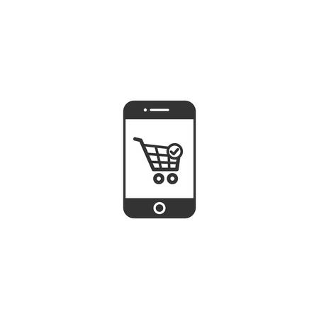 Smartphone and shopping cart vector icon. Online shopping via phone concept icon.