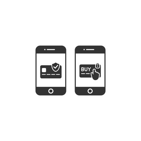 Smartphone with credit, debit card payment vector glyph icon. Smartphone online safe shopping and payment icons. Ilustração