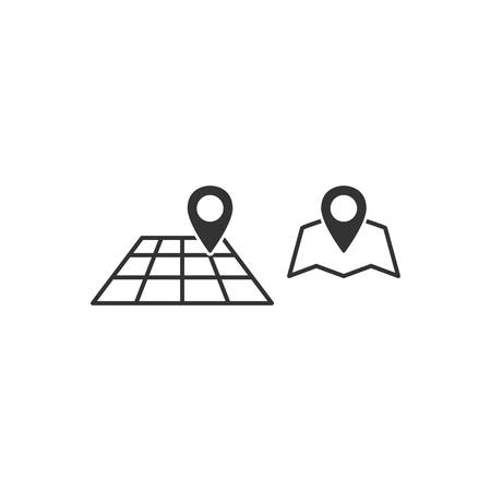 Location pin with map flat vector icon set. Location pin with map black glyph icons.