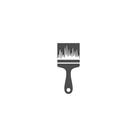 Paint brush simple black vector icon. Paint brush with paint marks glyph symbol
