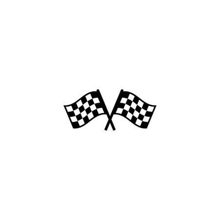 Race flag crossed checkered black and white simple vector icon. Start and finish crossed race flags symbol.