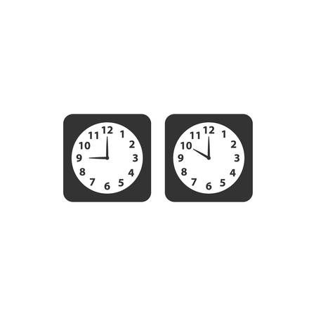 Alarm analog clock black square vector icon set. Clock with nine and ten o clock.